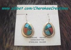 'Sterling Silver Inlaid Teardrop Earrings' is going up for auction at 12pm Fri, Jul 20 with a starting bid of $5.