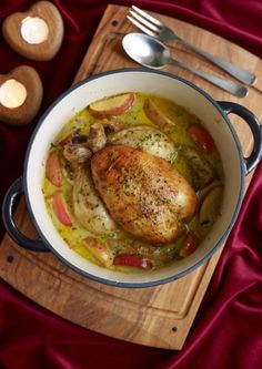 Pot-roast chicken with cider & Pink Lady apples - Recipes - Cheshire