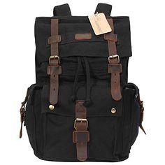 Vintage Canvas Rucksack Leather Hiking Travel Backpack School Bag #1219 Black  #fashion #bag #backpack #WomenWallets #highschool #Happy4Sales #kids #YLEY #L09582 #handbags #shoulderbags #bagshop