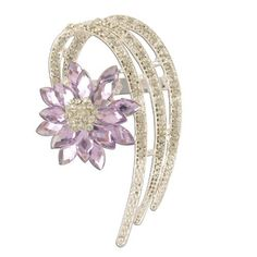 Loopy Fashion Flower Lilac Crystal Silver Brooch Brooched. $27.99. 30 Day No Hassle Return Policy. Ships in a durable carboard box for protection. We only sell quality products that look fabulous.. Save 49% Off!