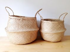 Beautiful and practical handwoven sea grass baskets.  These beautiful baskets have so many uses from an original beach or picnic bag to stylish