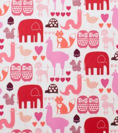Alexander Henry Cotton Fabric-I  Heart  Animals Pink Tonal