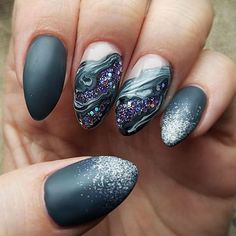 Matte Grey Marble + Sparkle - Gorgeous Geode-Inspired Designs Are the Newest Trend in Nail Art - Photos