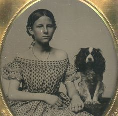 1850s - a girl and her dog