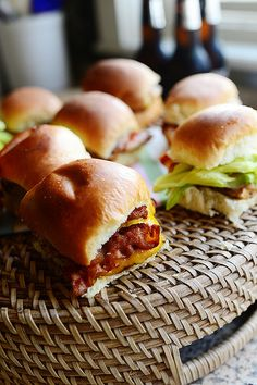 Grilled Chicken Bacon Sliders by Ree Drummond / The Pioneer Woman, via Flickr ~T~ she has a couple of ways to make these. There are so many ways to change them up. These are on my Super Bowl menu now. Go Niners