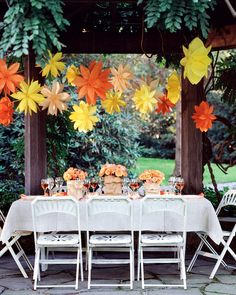 I could do without the paper bags on the table, but I love the color combination and the overall feel of this tablescape!