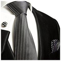 "Landisun Paisleys Mens Silk Tie Set: Necktie+Hanky+Cufflinks 91F Silver Black, 3.75""Wx59""L"