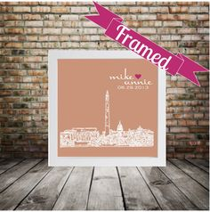 Bride Gift Wedding Gift City Skyline Personalized Print- FRAMED ART - Any City Worldwide Bridal Shower Gift for Bride
