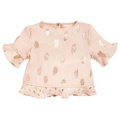 Buy Angel & Rocket Girls' Poppy Foil Print Top, Gold Online at johnlewis.com