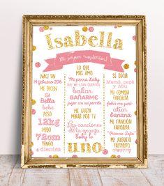 Hermosa Lamina rosa y dorado estilo pizarra en blanco lista para imprimir! Reaizamos envios a todo el mundo! Aceptamos paypal, y todos los medios de pago en Argentina. Hermoso para atesorar los datos de tu bebe para siempre! Tenemos varios modelos! Visitanos! https://www.tiendarosapastel.com/