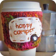 Happy Camper funny travel coffee mug cozy handmade cover Coffee Wine, Coffee Mugs, Travel Humor, Funny Travel, Vintage Travel Trailers, Vintage Campers, Mug Cozy, Get Happy, Tumbler Cups