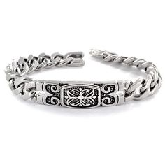 West Coast Jewelry Stainless Steel Celtic Cross Embossed Bracelet ($28) ❤ liked on Polyvore featuring men's fashion, men's jewelry, men's bracelets, white, mens stainless steel bracelets, mens white gold bracelets and mens chain link bracelets