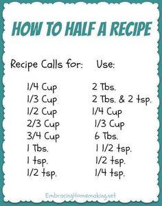 how to half recipes