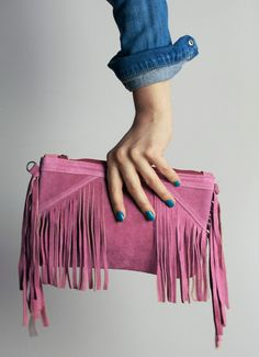 Hey, I found this really awesome Etsy listing at https://www.etsy.com/listing/177286062/hot-pink-suede-leather-clutch-with