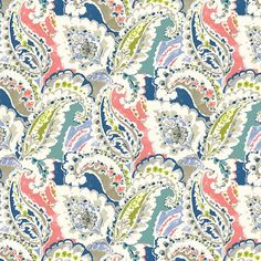 Items similar to Wide Linen Viscose Drapery Fabric Moroccan Kleur Paisley Pattern Aqua Green Teal Coral Navy Blue Gray on Etsy Paisley Fabric, Paisley Pattern, Paisley Color, Paisley Art, Coral Pattern, Pink Fabric, Color Blue, Coral Aqua, Navy Blue