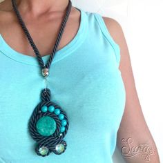 New to SaraKeyHandmade on Etsy: Grey Rope Necklace Turquoise Necklace Beads Necklace Soutache Necklace Beaded Necklace Colorful Necklace Bohemian Necklace Big Pedant (44.00 USD)