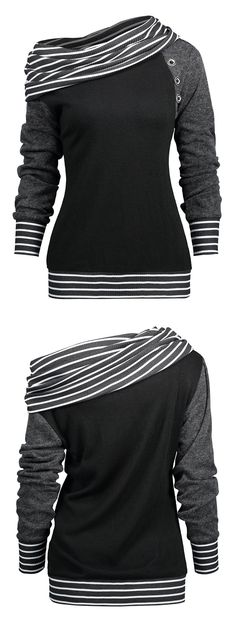 Casual fashion two ways wearing long sleeve tee features stripe knitted fabric panel collar and brim with buttons embellished - Skew neck or off the shoulder - Pull-on style Diva Fashion, Look Fashion, Fashion Outfits, Womens Fashion, Casual Dresses, Casual Outfits, Cute Outfits, Striped Knit, Shirts For Girls