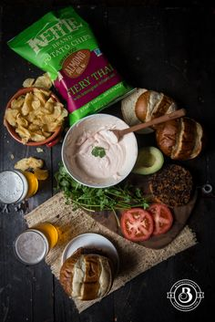 Fiery Thai Kettle Chips and Sweet Potato Burgers with Beer Sweet Chili Cream Sauce
