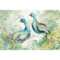 Bohemian Peacocks Landscape Canvas Art - Tre Sorelle Studios (12 x 18)