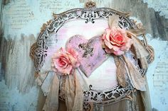 Pink puffy heart plaque roses handmade wall by AnitaSperoDesign