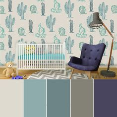 Floral Cactus wallpaper colour palette. Check this mural here: