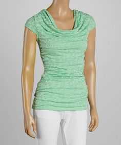 Love this Mint Ruched Cowl Neck Top on #zulily! #zulilyfinds