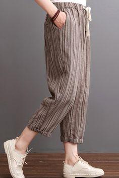 2016 Khaki striped linen pants summer crop pants – Linen Dresses For Women Linen Pants Women, Linen Trousers, Pants For Women, Clothes For Women, Linen Crop Pants, Stripe Pants, Fashion Pants, Fashion Outfits, Pantalon Large