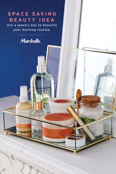 Space saving beauty idea! Use a glass jewelry box to hold all of your daily essentials. Simplify your morning routine — body spray, moisturizers and cosmetics — ready to grab & go! Display on your dresser, desk or bathroom shelf... perfect for small-space living. Find more organization inspiration at Marshalls.