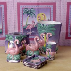 Flamingo Bathroom Accessories Set. I need to counteract all the testosterone in my house by girl-ifying my bathroom a little more. What better way to do that then by inviting some of the flock into it??