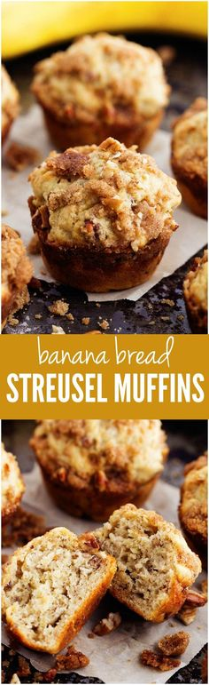 Moist and delicious banana bread muffins with an amazing cinnamon streusel topping!