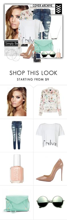 """""""Nude/Calvin"""" by skyes-are-blue on Polyvore featuring Charlotte Tilbury, New Look, Current/Elliott, Calvin Klein, Essie, Christian Louboutin, Apt. 9, Revo and Lipstick Queen"""