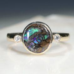Natural Australian Boulder Opal Matrix and Diamond Gold Ring  - Size 7.5 Code - RL32 10k Gold Ring, Gold Diamond Rings, Opal Rings, Gold Rings, Natural Opal, Natural Diamonds, Opal Colour, Gold Ring Designs, Green Opal