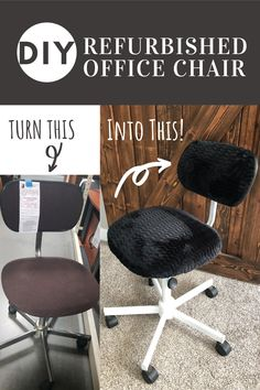 Find out how you can turn your boring office chair into an adorable shabby chic chair! This super easy DIY project will help transform your office decor. #officechairmakeover #officechair #DIYofficedecor #officedecor #DIYproject #refurbisedofficechair