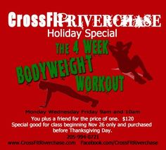 Here is a special CrossFit Riverchase is having for workout beginners! Check it out. Buy one spot and get a second spot for a friend for FREE.