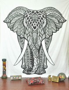 Handicrunch Indian Elephant Tapestry Hippie Tapestries Tapestry Wall Hanging ...