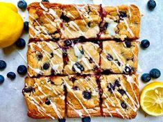 Lemon-Blueberry Blondie Bars Lemon Blueberry Bars, Blueberry Desserts, Lemon Bars, Lemon Dessert Recipes, Baking Recipes, All You Need Is, Blondie Bar, Food Wishes, Glaze Recipe