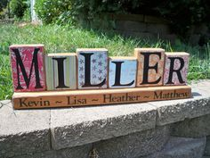7 piece Family Name Block Set Miller style by SimplySaidSayings, $21.00