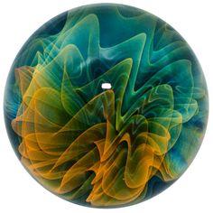 "Remy Schwartz 1 3/8""  Fumed Wig Wag Boro Art Glass Marble #Glass"