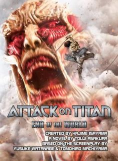 "Attack on Titan: End of the World by Hajime Isayama.  	""Ever since a horde of seemingly immortal and mindless giants emerged a century ago, humanity has been eking out a secluded existence behind a series of concentric walls. The precarious peace does not last, and childhood friends Eren, Armin, and Mikasa, who witness the end of the world as they know it, embark on an infernal journey with no paradise in sight.""--Page [4] of cover."