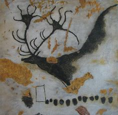 Wall painting of Reindeer, Lascaux Cave, France, c-15,000 B.C.