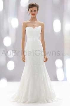 Satin Strapless Fitted Bodice Wedding Dress - Wedding Dresses