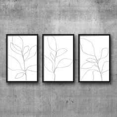 Botanical Print Set Plant Prints Triptych by MinimalInstant