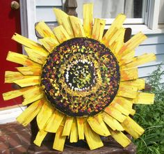 """SUNFLOWER made entirely from Old Wood Crab Baskets Painted with Rustoleum, can be displayed outside. 29"""" across by Dawn Tarr DAWN TARR ART"""