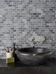 Use these bluestone tiles to decorate walls with a blue, grey and white wash of colour. Order a sample of the Bluestone Tumbled Marble Mosaic tile online. Compact Bathroom, Wet Rooms, Gras, Stone Flooring, Stone Tiles, Basin, Natural Stones, Ecommerce, Bathroom Ideas
