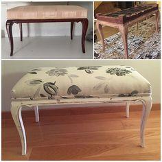 Descalzadora antigua.  Tratada encolada pintada y con nueva tapicería neutra y actual. Otro mueble recuperado para una nueva vida. Cool Furniture, Painted Furniture, Furniture Ideas, Yard Sale, Vanity Bench, Country Decor, Chalk Paint, Thrifting, Upholstery