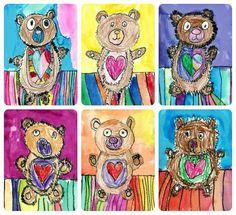 It's National Teddy Bear Day! The kinders love doing this lesson every fall for @arttorememberfundraising.  These cute bears were from last year's K's! ❤️#arted #arteducation #artclass #kindergartenart #teddybearart #nationalteddybearday #drawinglesson #texture #iteachart #artteachersofinstagram