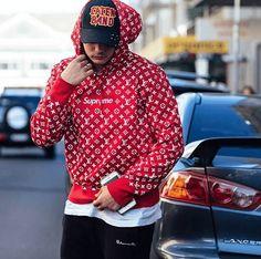 Supreme Hoodie x LV Supreme Hooded sweatshirt Color: red Material: cotton Nickname Supreme X Lv Decoration: supreme logo / printed lv logo Supreme Hoodie, Supreme Logo, Hoodie Outfit, Red Hoodie, Hip Hop Fashion, Street Fashion, Mens Fashion, Supreme Clothing, Lv Men