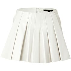Alexander Wang Leather Pleated Skirt ($595) ❤ liked on Polyvore featuring skirts, white, flared skirt, leather skirt, white skirt, pleated skater skirt and white circle skirt
