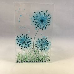 Your place to buy and sell all things handmade - This is a clear glass plaque (approximately x featuring flowers in shades of turquoise. Stained Glass Church, Stained Glass Quilt, Stained Glass Projects, Fused Glass Ornaments, Fused Glass Jewelry, Fused Glass Art, Tiffany Glass, Glass Plaques, Glass Fusion Ideas