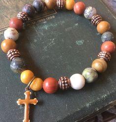Cross Bracelet Gemstone Bracelet women's bracelet by Ivanwerks